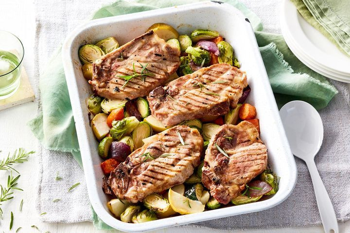 Roasted Fall Vegetables Best Recipes Ever  Pork chops with maple roasted ve ables