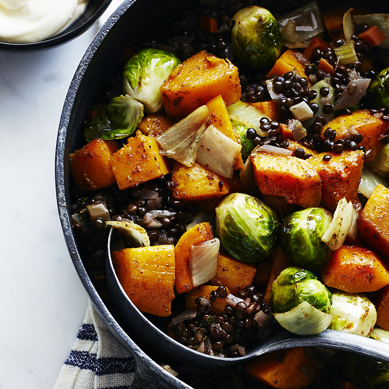 Roasted Fall Vegetables Recipe  Roasted Fall Ve ables with Lentils and Spices Recipe