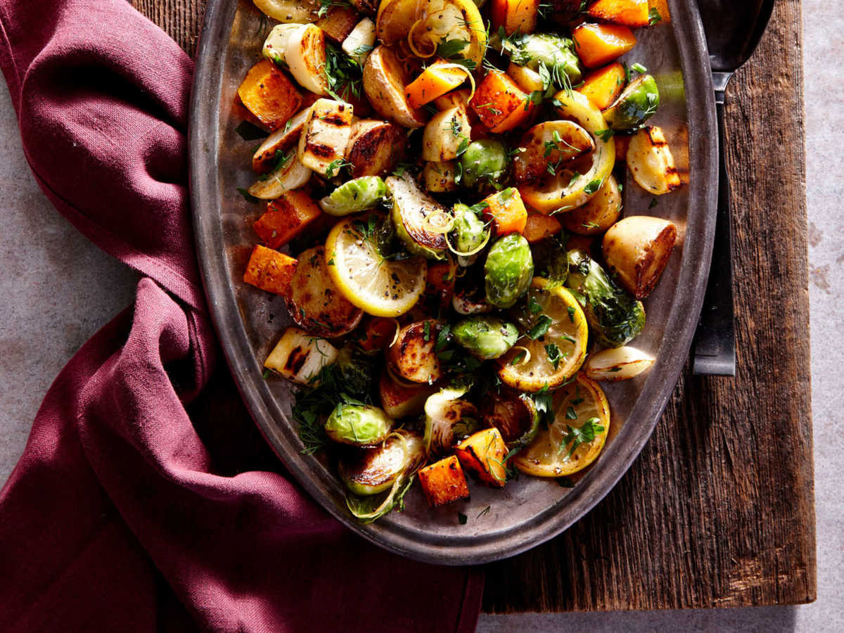 Roasted Vegetables Thanksgiving  Lemon Herb Sheet Pan Roasted Ve ables Recipe Cooking Light