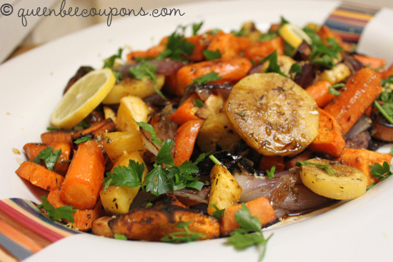 Roasted Vegetables Thanksgiving Recipe  Roasted root ve ables with herbs and balsamic vinegar