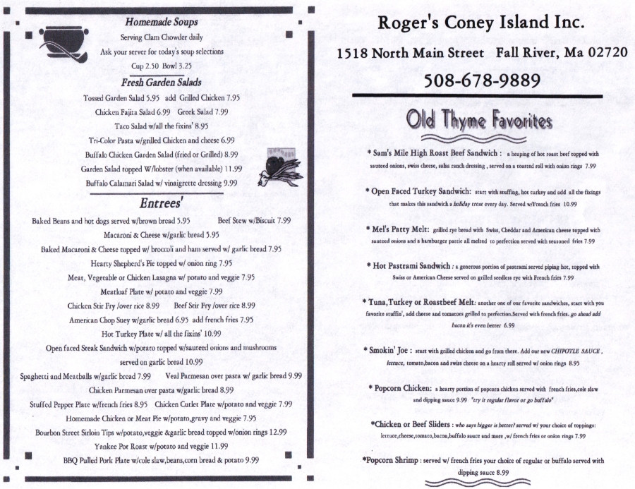 Rogers Hot Dogs Fall River  Roger's Coney Island Hot Dogs