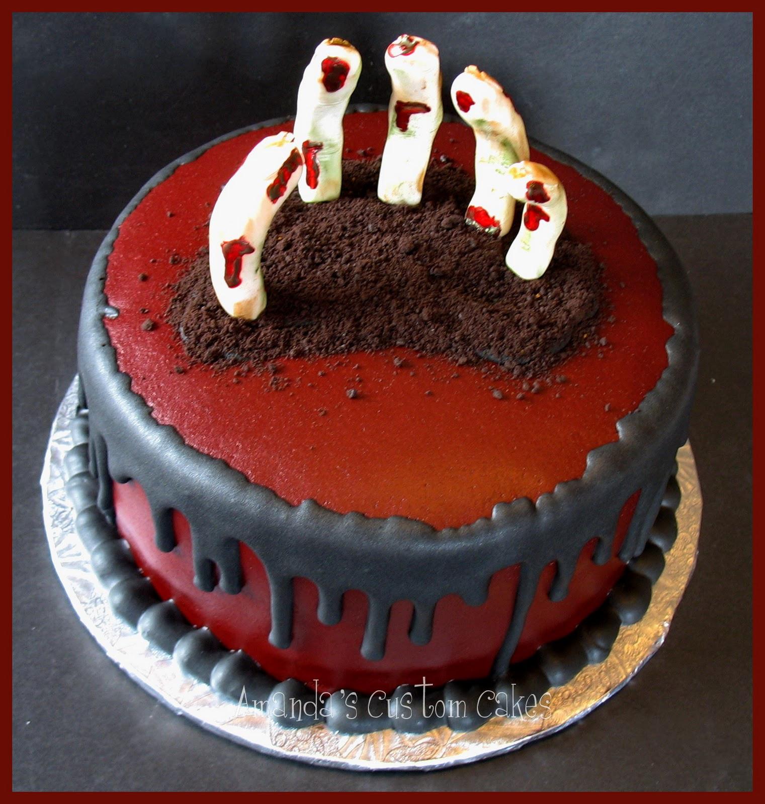 Scary Halloween Cakes  Amanda s Custom Cakes Creepy Hand Halloween Cake