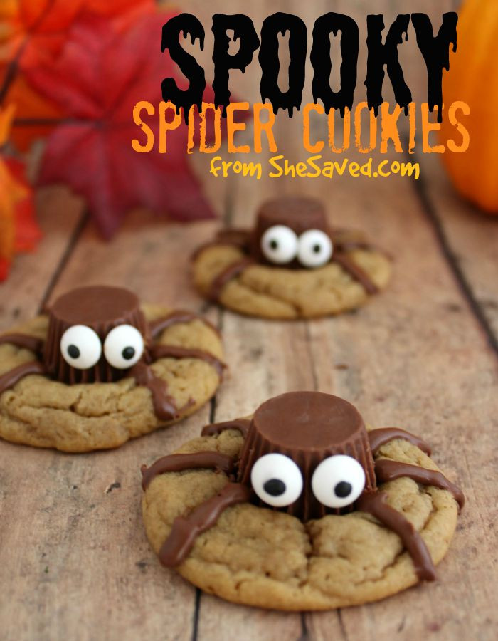 Scary Halloween Cookies  Halloween Treat Spooky Spider Cookies SheSaved