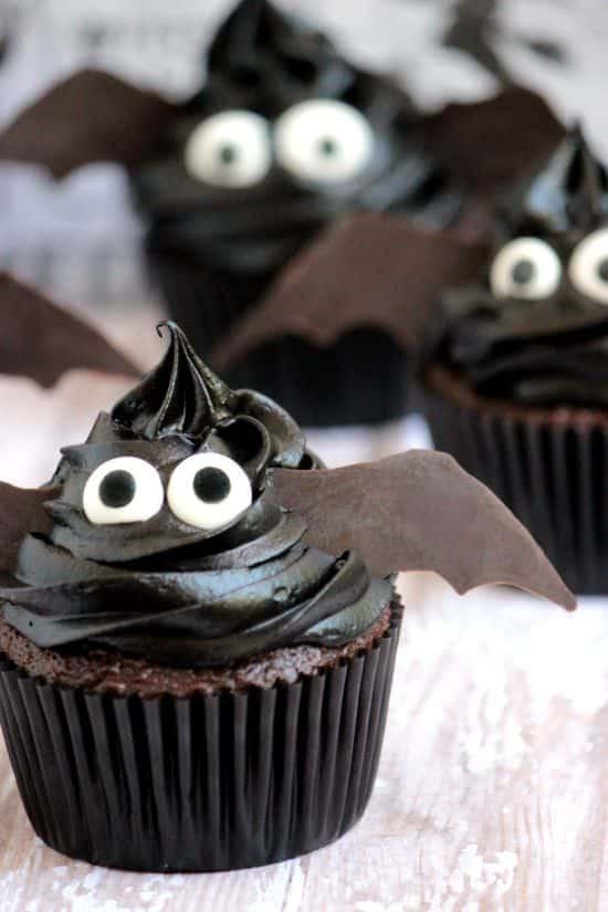 Scary Halloween Cupcakes  Easy Bat Cupcakes A Cedar Spoon