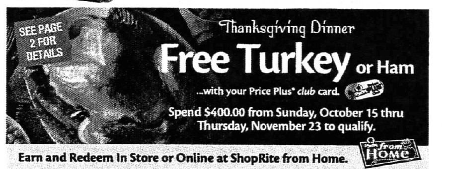 Shoprite Thanksgiving Dinner 2019  ShopRite Holiday Dinner Promo Earn a FREE Turkey Ham