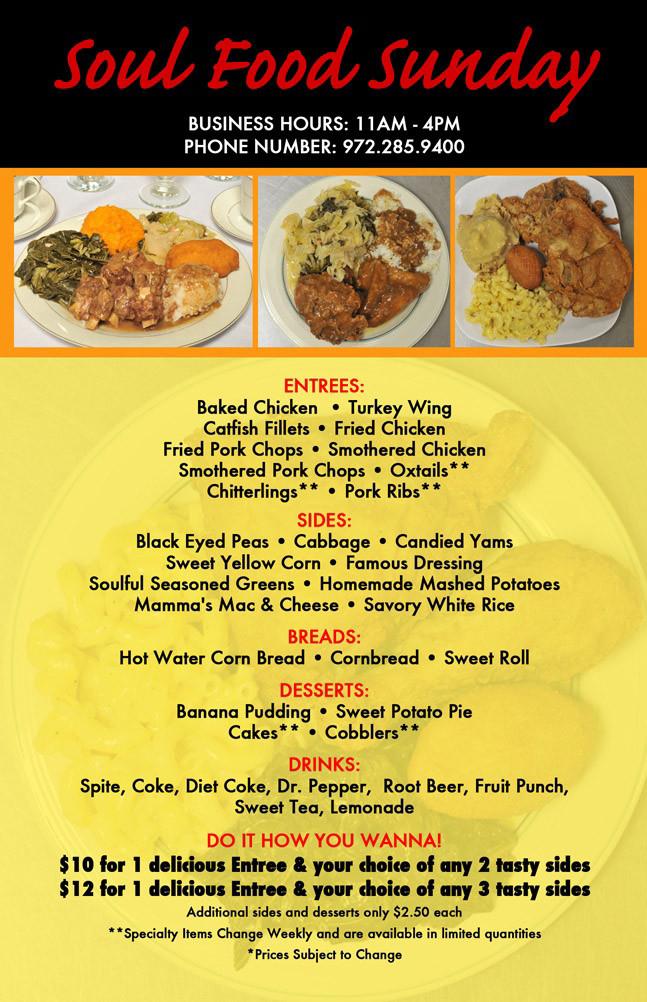 Soul Food Thanksgiving Dinner Menu  Nimps To Go – Soul Food Sundays – Mesquite Sunnyvale