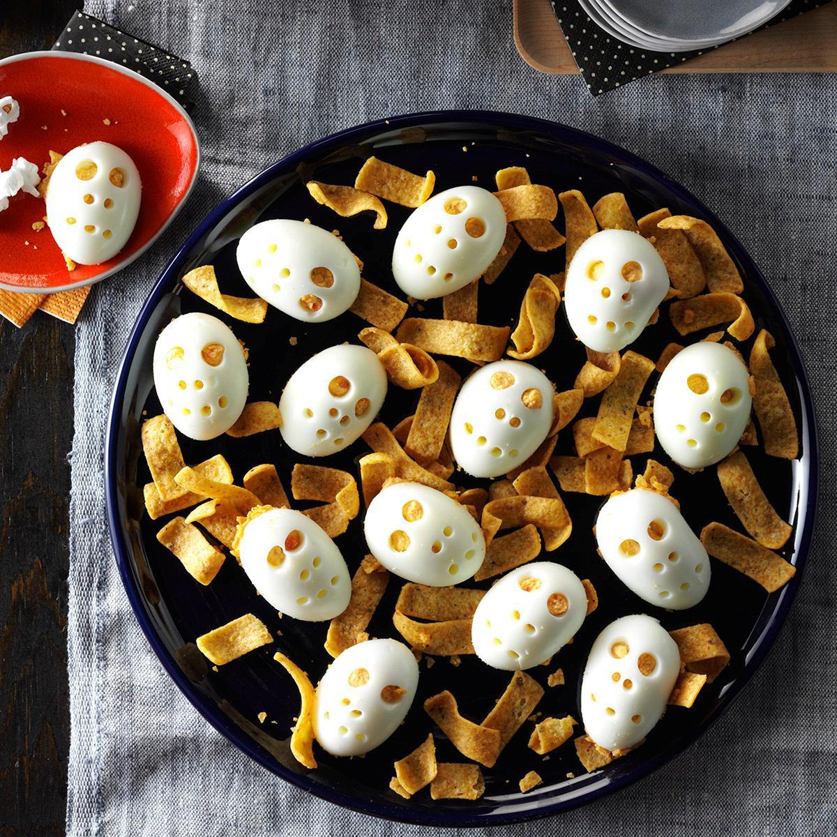Spooky Deviled Eggs Halloween  Skull Deviled Eggs Recipe