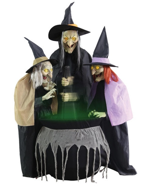 Stew Brew Witch And Child Animated Halloween Decoration  Hagatha The Towering Witch Animated Prop Halloween Express