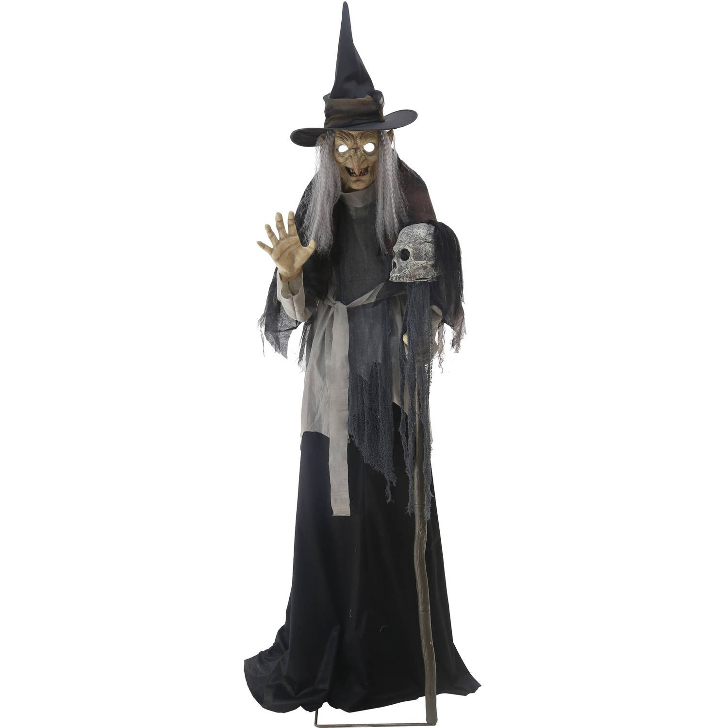Stew Brew Witch And Child Animated Halloween Decoration  Lunging Haggard Witch Animated Halloween Decoration