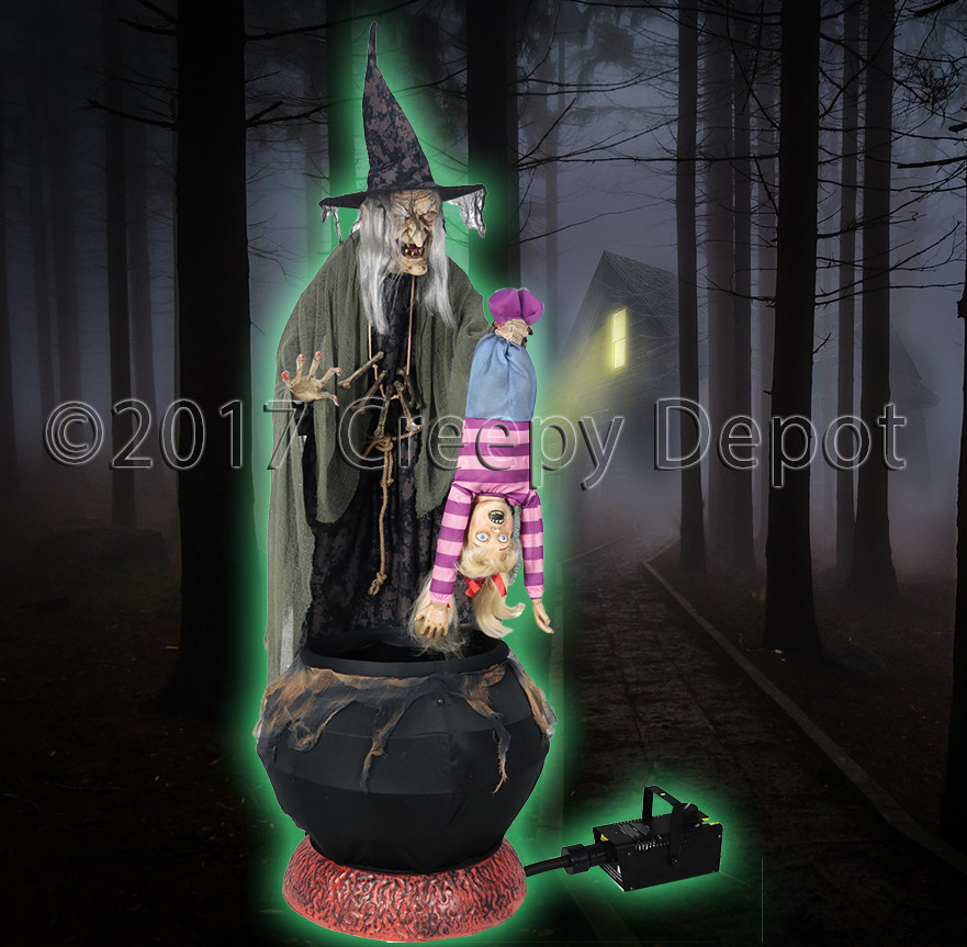 "Stew Brew Witch And Child Animated Halloween Decoration  Stew Brew Witch ""WITH"" Fog Machine – Creepy Depot"