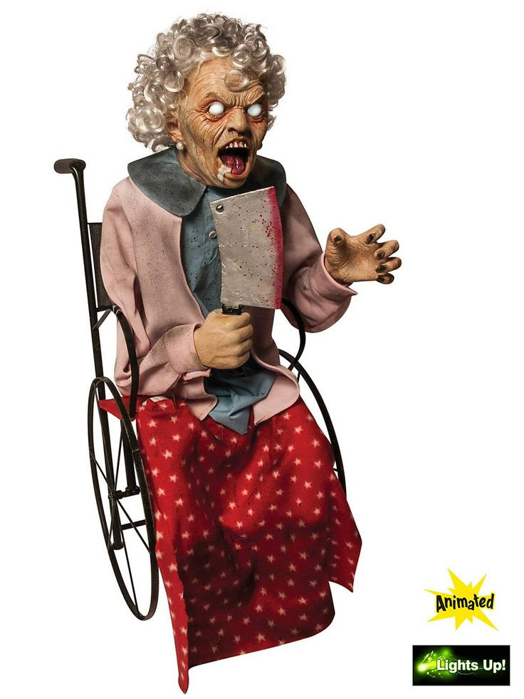 Stew Brew Witch And Child Animated Halloween Decoration  Animated Wheelchair Granny Prop