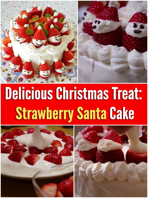 Strawberry Christmas Cake  Delicious Christmas Treat Strawberry Santa Cake DIY