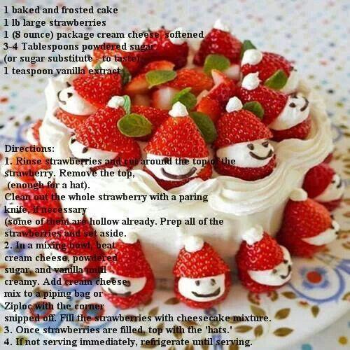 Strawberry Christmas Cake  Strawberry santa cake Christmas