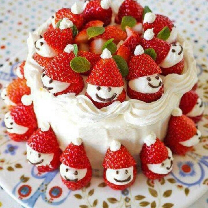 Strawberry Christmas Cake  Strawberry Santa cake Christmas Ideas