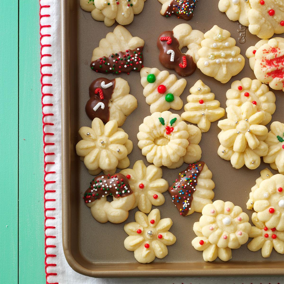 Taste Of Home Christmas Cookies  Buttery Spritz Cookies Recipe