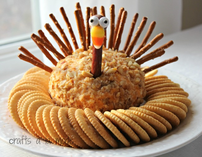 Thanksgiving Appetizers For Kids  Thanksgiving Turkey Cheese Ball Crafts a la mode
