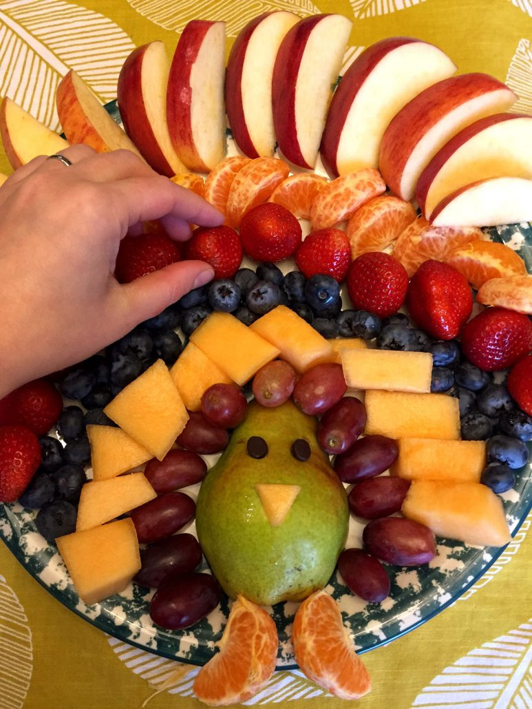 Thanksgiving Appetizers For Kids  Thanksgiving Turkey Shaped Fruit Platter Appetizer Recipe