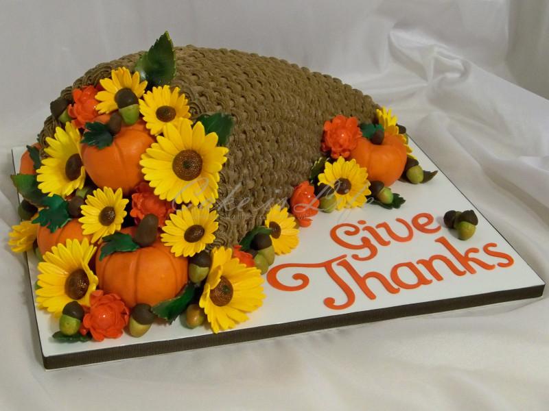 Thanksgiving Birthday Cake  Cornucopia Thanksgiving Cake