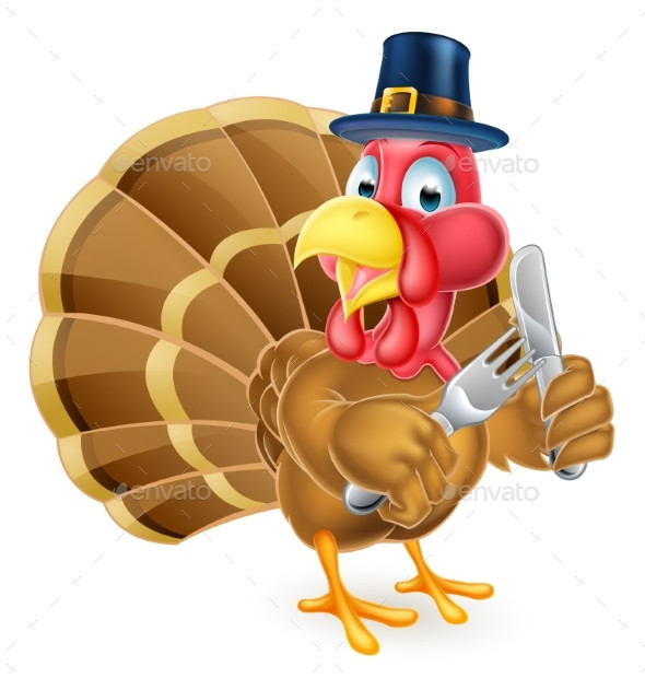 Thanksgiving Cartoon Turkey  Pilgrim Hat Thanksgiving Cartoon Turkey Holding by Krisdog