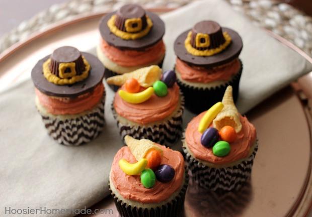 Thanksgiving Cupcakes Decorations  Thanksgiving Cupcakes Pilgrim Hats and Cornucopia