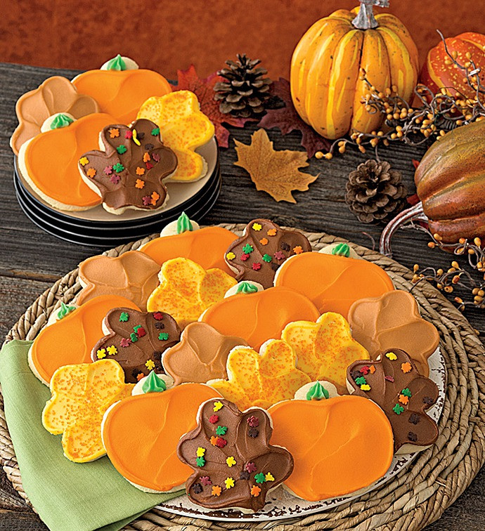 Thanksgiving Cut Out Cookies  Buttercream Frosted Thanksgiving Leaf and Pumpkin Cut out