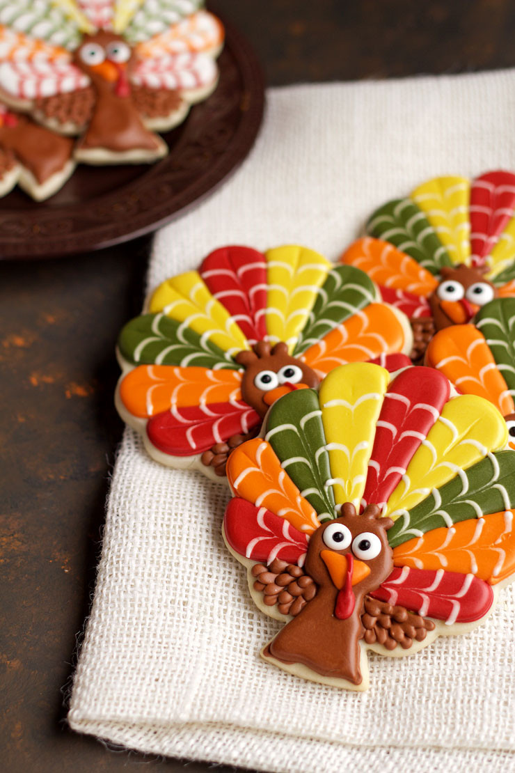 Thanksgiving Cut Out Cookies  Decorated Turkey Cookies