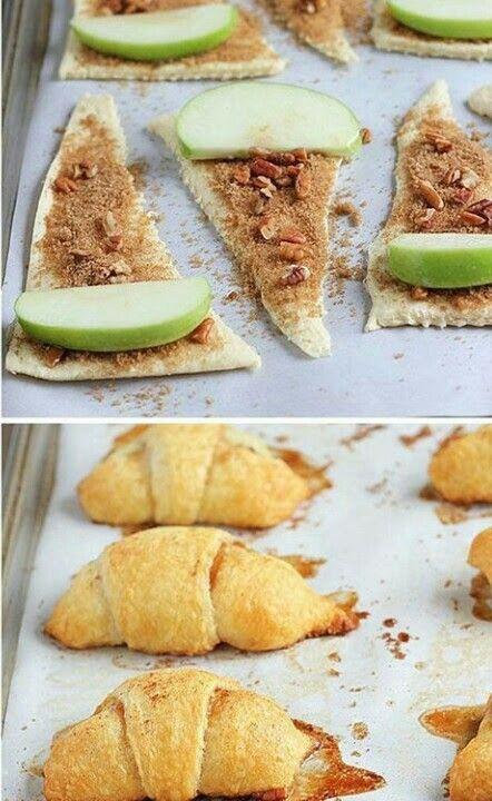 Thanksgiving Desserts 2019  Cuernitos rellenos de canela y manzana