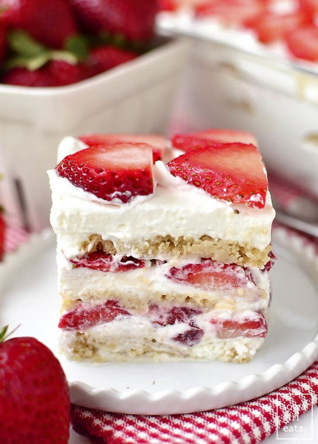 Thanksgiving Desserts 2019  No Bake Strawberry Shortcake Icebox Cake in 2019
