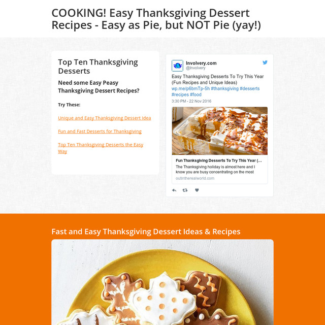 Thanksgiving Desserts Not Pie  COOKING Easy Thanksgiving Dessert Recipes Easy as Pie
