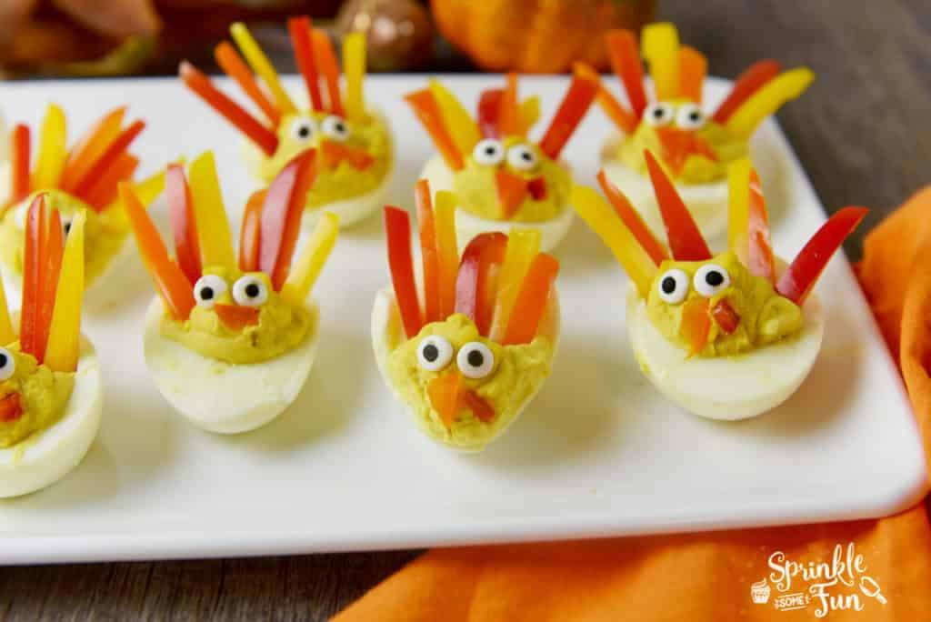 Thanksgiving Deviled Eggs Decorations  Deviled Egg Turkeys Sprinkle Some Fun