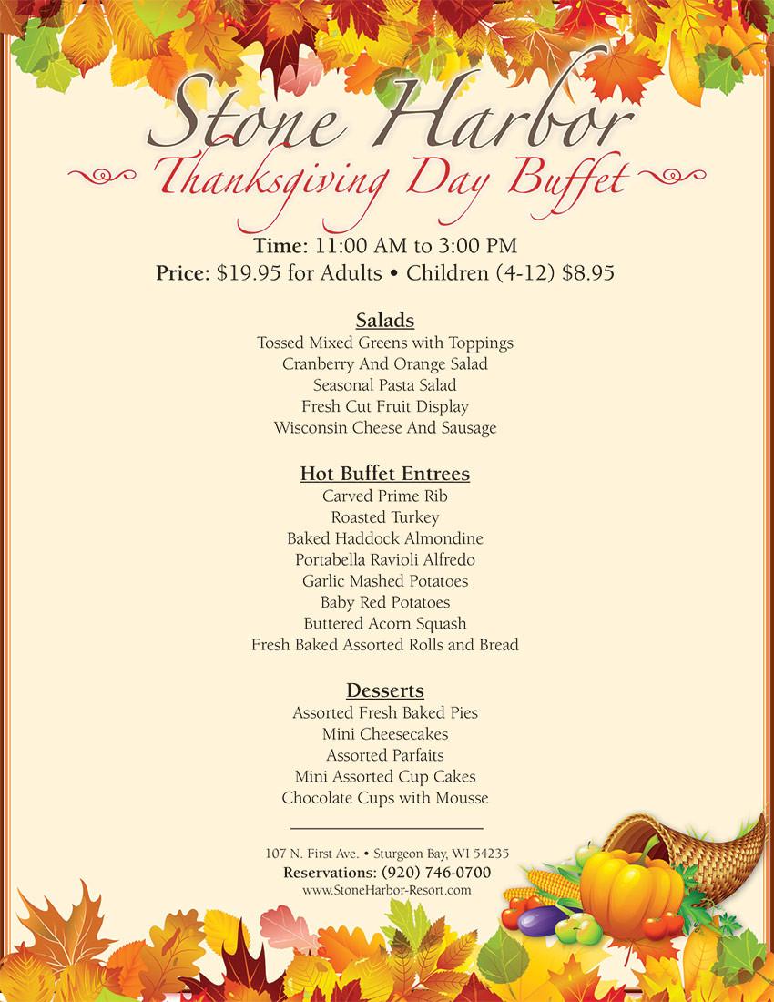 Thanksgiving Dinner 2019 Restaurants  Thanksgiving Day Buffet Stone Harbor Resort
