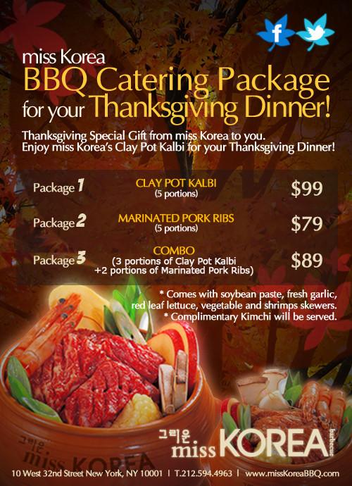 Thanksgiving Dinner Catering  For Your Thanksgiving Dinner miss KOREA BBQ Catering
