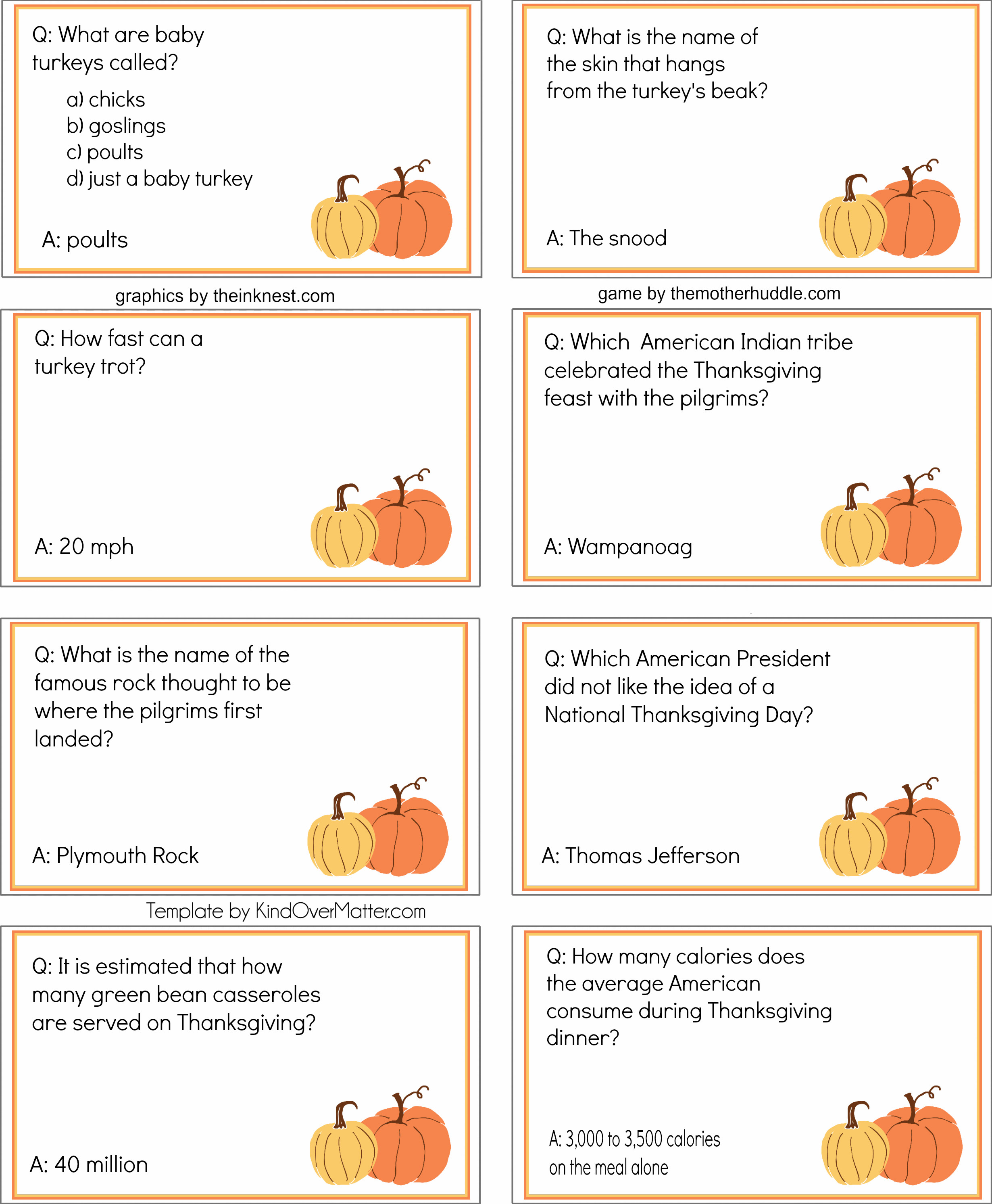 Thanksgiving Dinner Games  Free Printable Thanksgiving Dinner Trivia