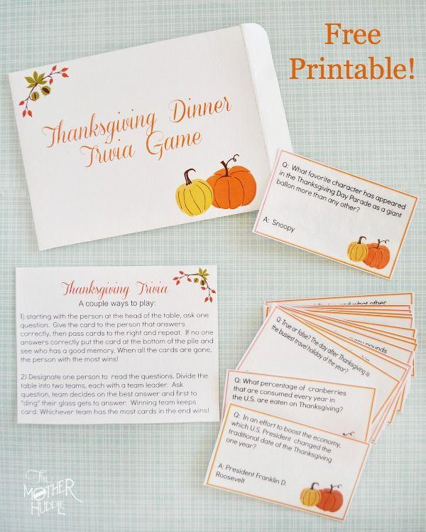 Thanksgiving Dinner Games  Free Printable Thanksgiving Trivia fun dinner game to
