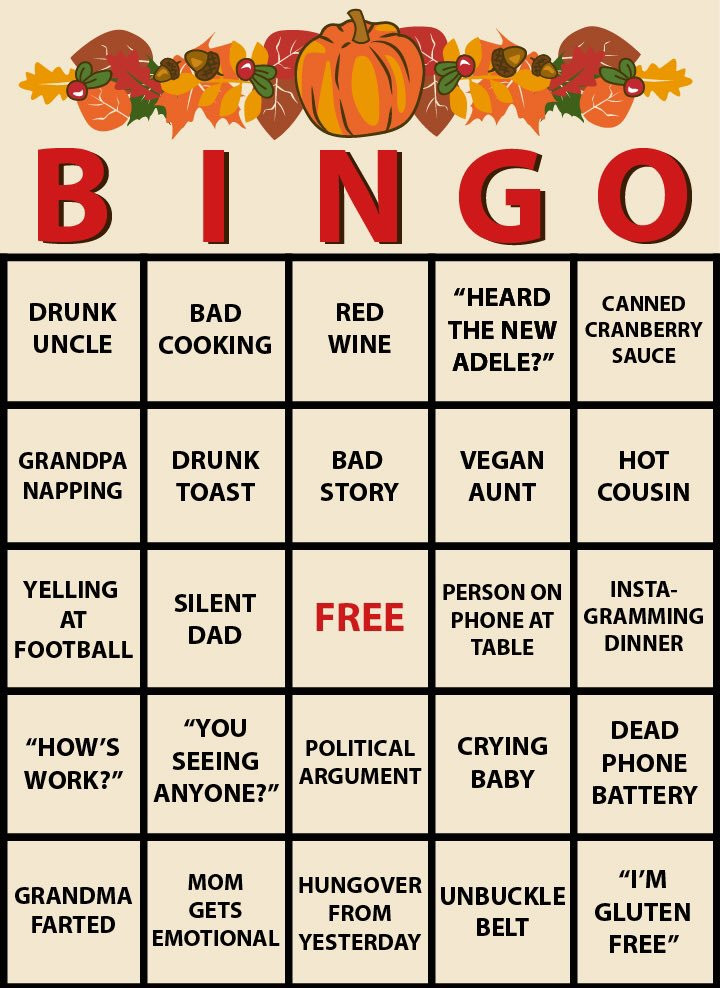 Thanksgiving Dinner Games  We made a thanksgiving dinner bingo game you can play