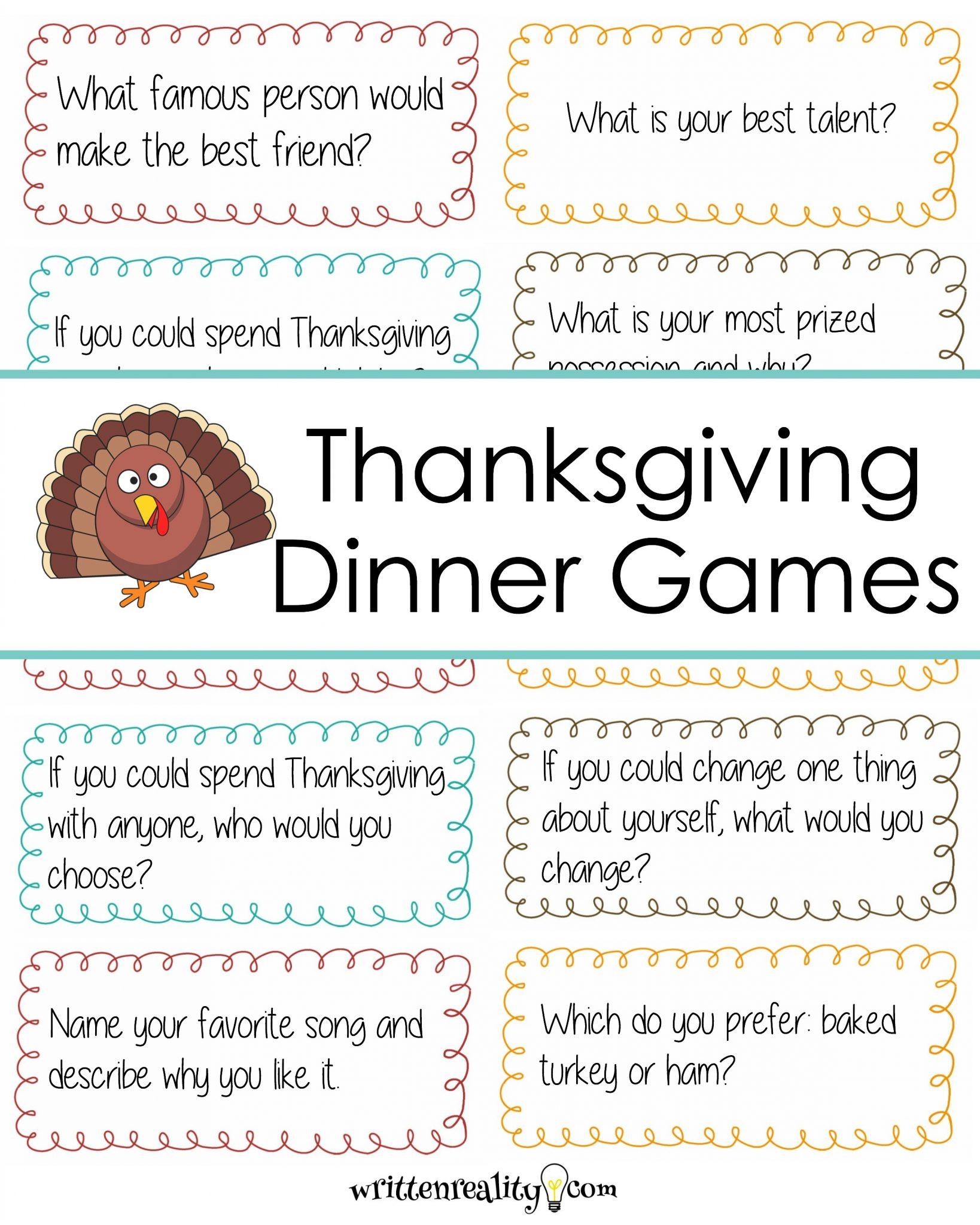 Thanksgiving Dinner Games  Thanksgiving Dinner Conversation Starters Written Reality