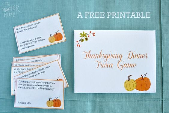 Thanksgiving Dinner Games  Trivia Thanksgiving trivia and Free printable on Pinterest