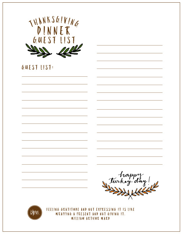 Thanksgiving Dinner List  Free Printable Thanksgiving Checklist and Place Cards