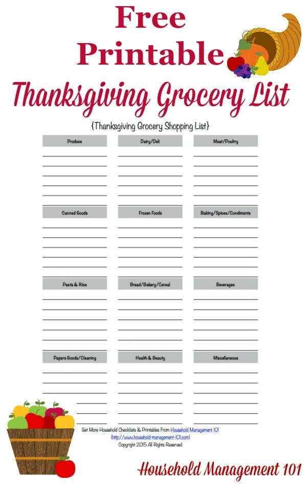 Thanksgiving Dinner List  Printable Thanksgiving Grocery List & Shopping List