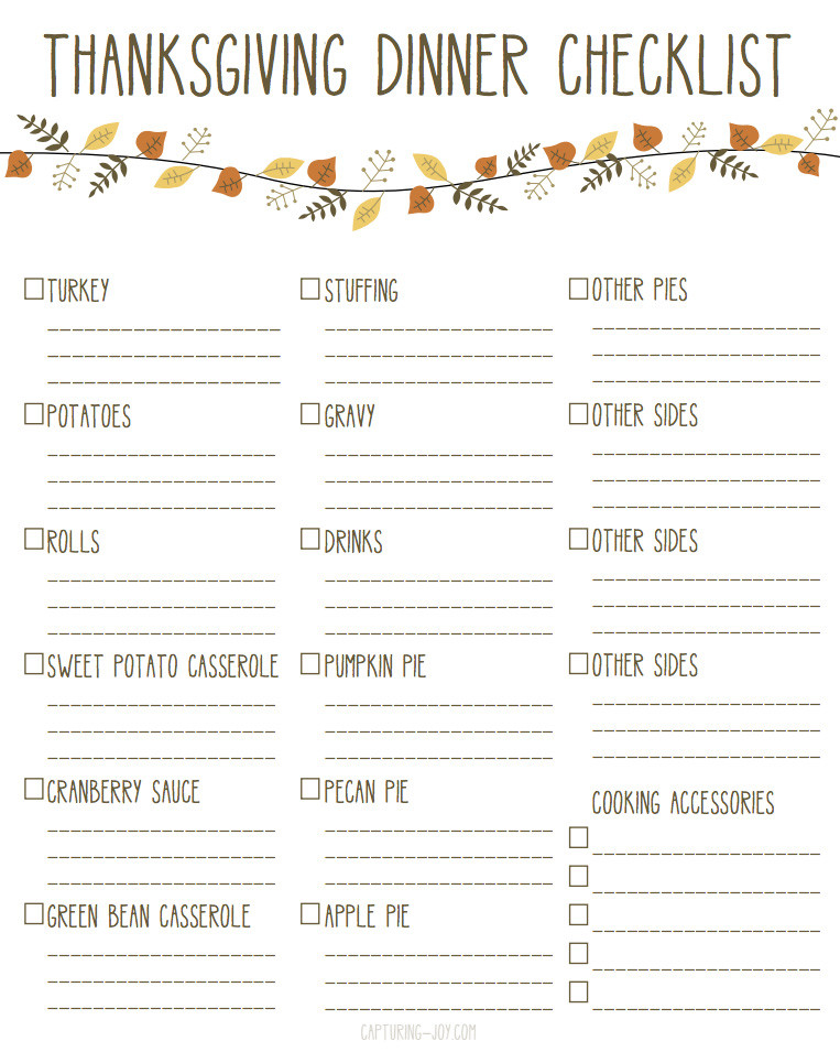 Thanksgiving Dinner List  Printable Thanksgiving Dinner Checklist and Recipes