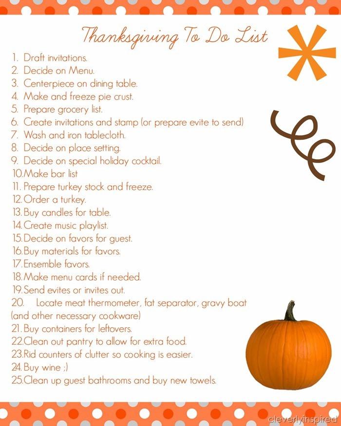 Thanksgiving Dinner List  Thanksgiving Prep List