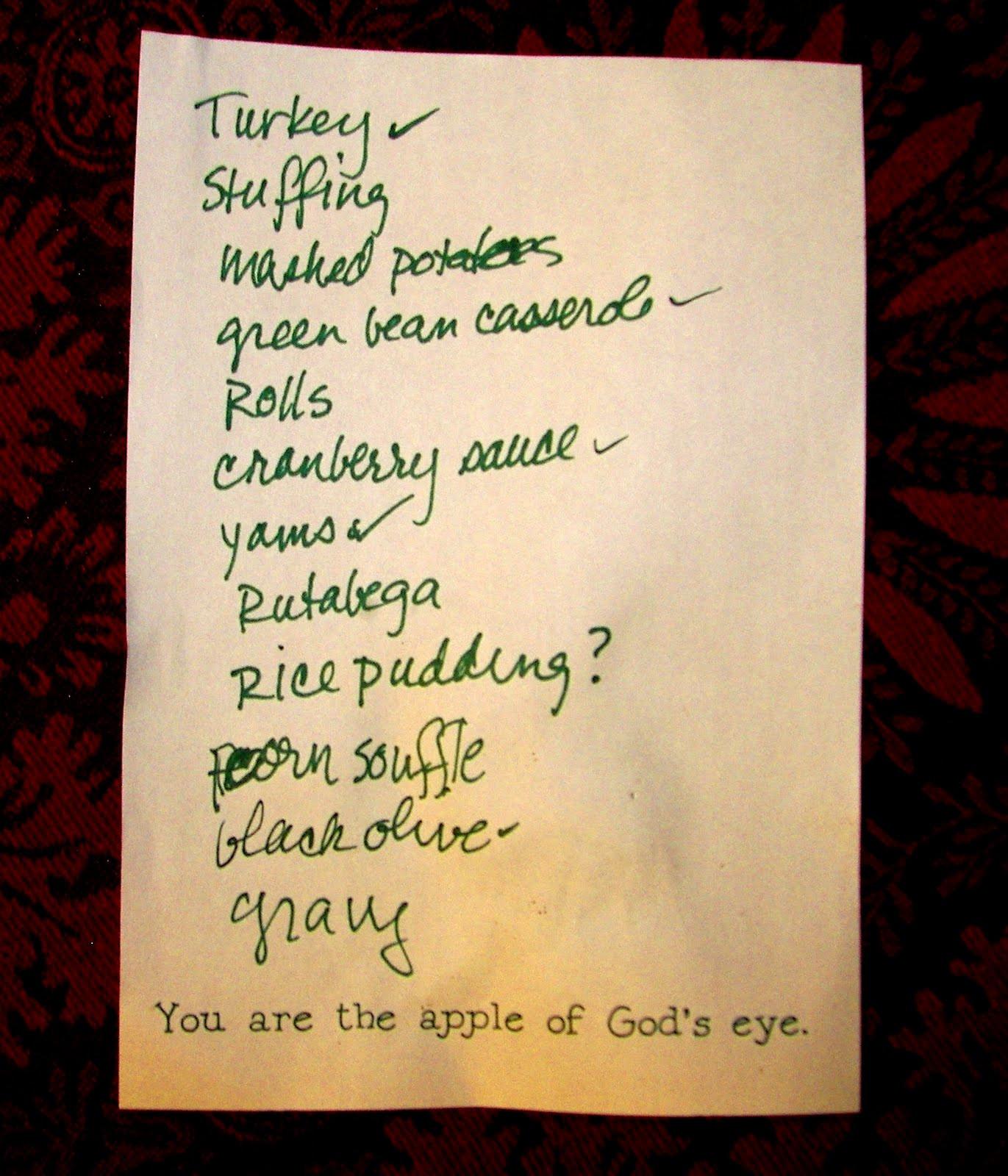 Thanksgiving Dinner List  historymike November 2009