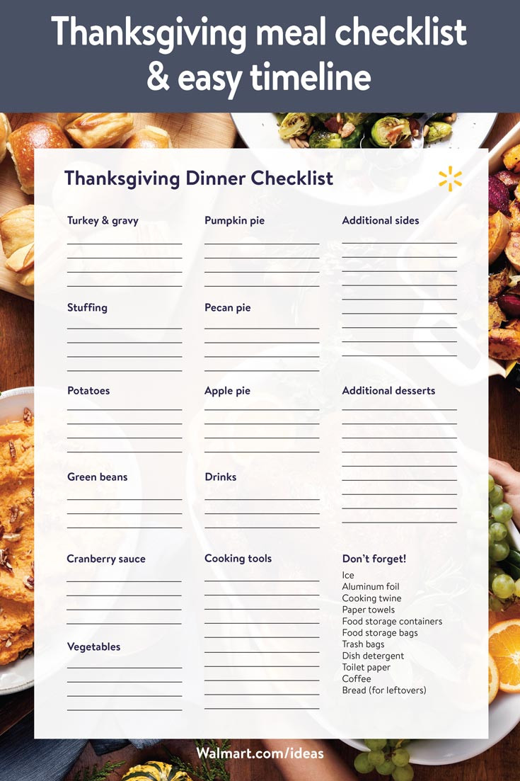 Thanksgiving Dinner List  Thanksgiving meal checklist and easy timeline Walmart