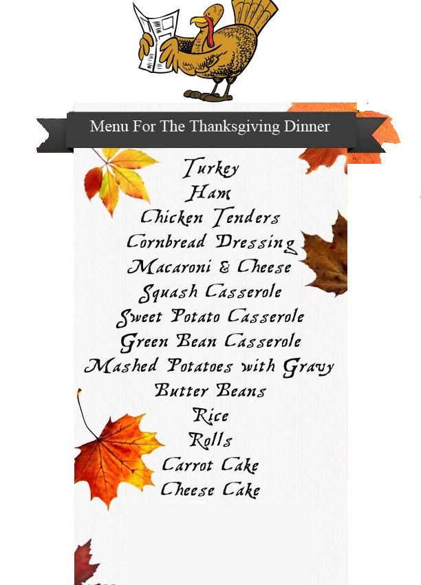 Thanksgiving Dinner List  Thanksgiving Day Preparation