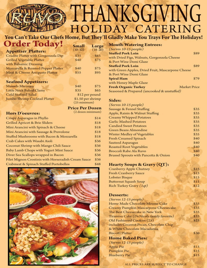 Thanksgiving Dinner Long Island 2019  Thanksgiving Catering with Ruvo Ruvo