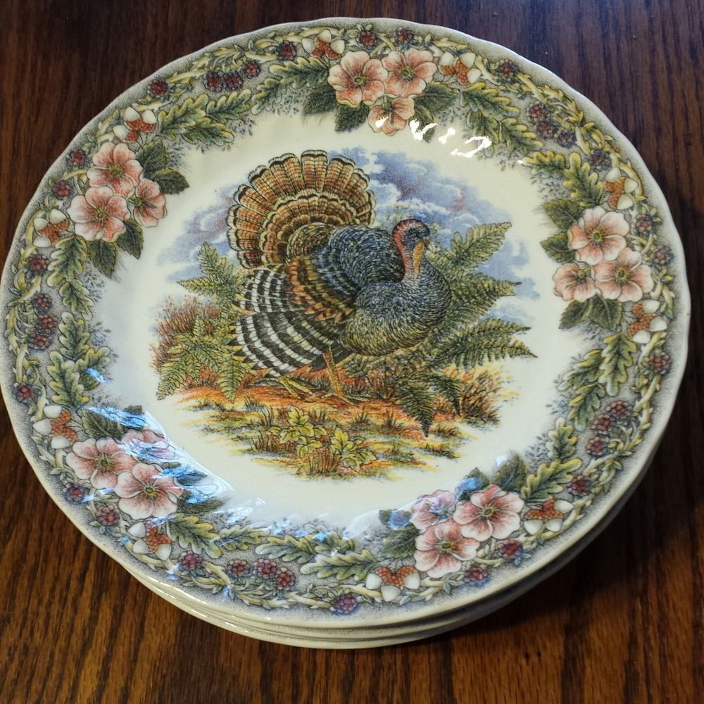 Thanksgiving Dinner Plate  FANTASTIC Churchill Columbia Thanksgiving Multi Color