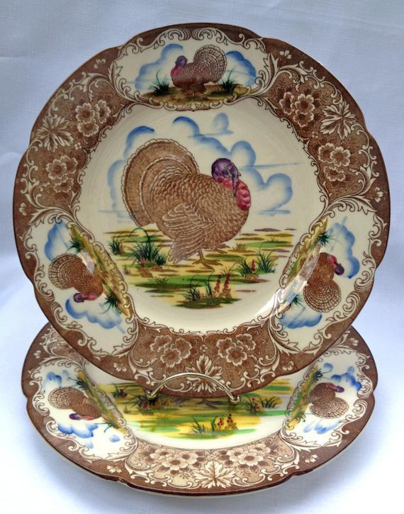 Thanksgiving Dinner Plate  Vintage MARUTA WARE Turkey Thanksgiving Dinner Plate 10 5 inch