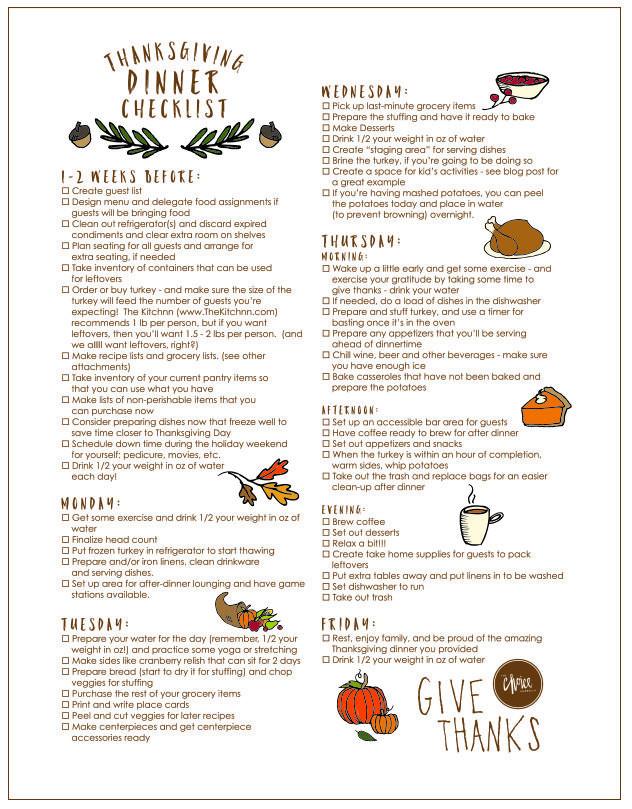 Thanksgiving Dinner Restaurant 2019  FREE Thanksgiving Printable Thanksgiving Day Checklist