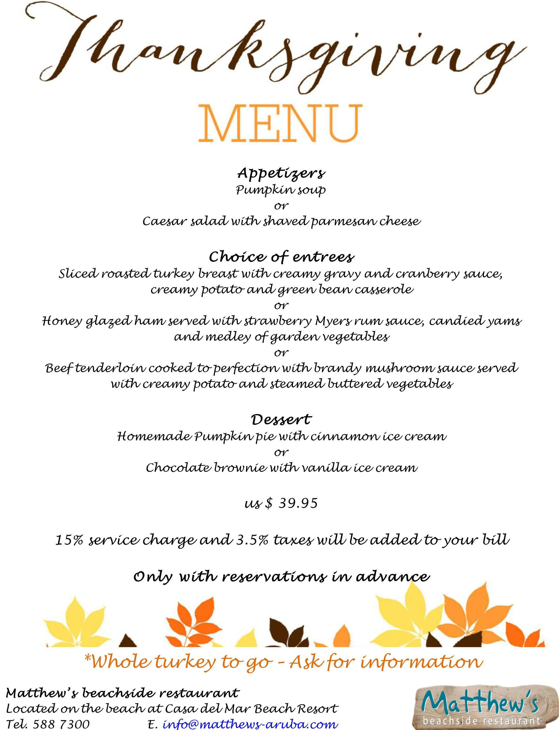 Thanksgiving Dinner Restaurant 2019  VisitAruba