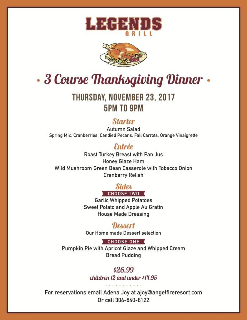Thanksgiving Dinner Restaurant 2019  Thanksgiving Dinner at Legends Angel Fire Resort